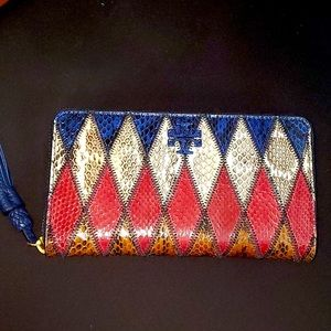 Tory Burch Taylor Snakeskin Wallet NWT